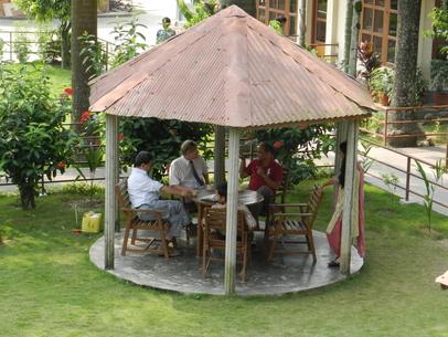 Tepauserna gav tid att bekanta sig med varann. Bilden från konferensen i Chitwan.