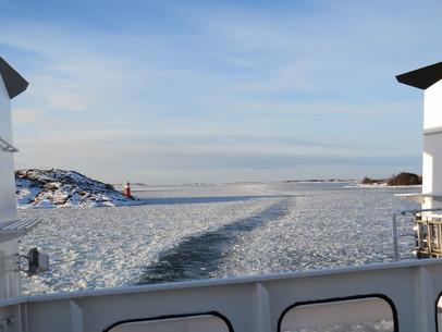 Akterdäck på båten mellan Kumlinge och Torsholma