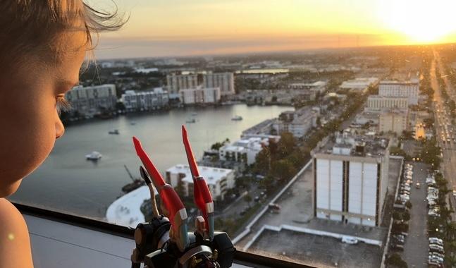 Ett delat ögonblick med utsikt över Miami