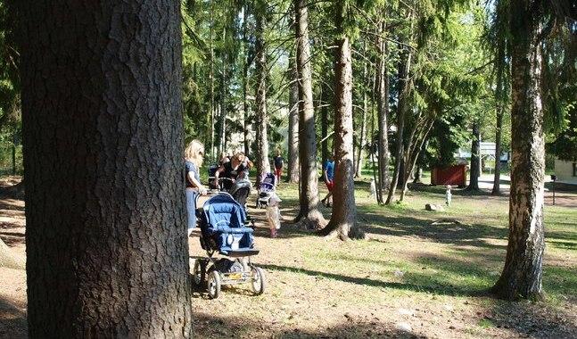 Vandringen ordnas i lättframkomlig terräng i närheten av S:t Jacobs kyrka på Drumsö.
