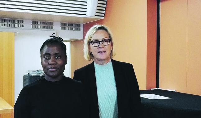 Itohan okundaye från Nigeria var människohandelsoffer i Italien i sex år. Tillammans med Eva Biaudet pratade hon om människohandel under Blomma-konferensen i september i Helsingfors.