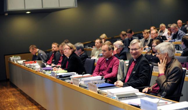 Biskopsm�tet sammantr�dde i Helsingfors den 13-14 april. Bilden �r tagen vid kyrkom�tet i maj 2014.