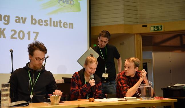 UK:s presidium, från vänster Ossian Beukelman, Kajsa Lassila, Fredrik Kass (KCSA) och Måns Vikström.