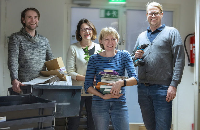 Nicklas Storbjörk (fr. v.), Pian Wistbacka, Åsa Nordström och Kalle Sällström är glada över nya och funktionsenliga lokaler.