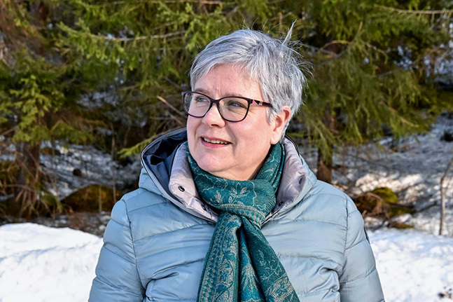 Caroline Sandström jobbar med en ordbok om svenska dialekter i Finland. Hennes favoritplats i stan är Munksnäs bibliotek på Rievägen, nära Munksnäs kyrka.