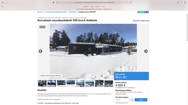 Skärmdump från huutokaupat.com