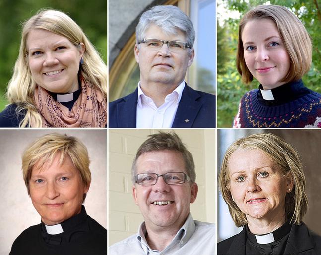 Mari Puska, Rolf Steffansson, Mia Anderssén-Löf, Stina Lindgård, Jan-Erik Nyberg och Ann-Mari Audas-Willman ställer upp i valet av prästombud i kyrkomötet.