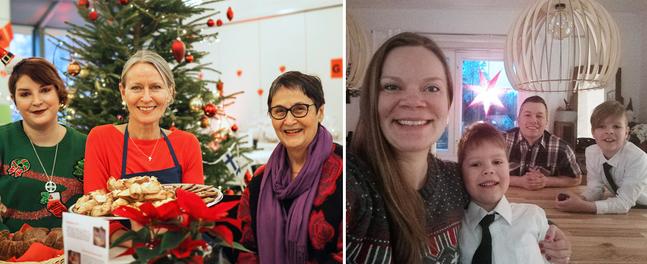 Välkommen till Matteus för att fira jul med bland andra diakoniarbetare Mari Johnson och frivilligarbetarna Marina Alén och Annica Söderström, eller till Petrus där julaftonen firas hemma hos Rebecka och Daniel Björk med familj.