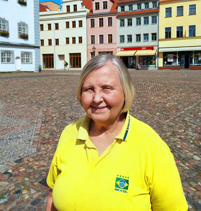 Gunvor Skogman trivs på resande fot. Här på Lutherresa i Wittenberg.