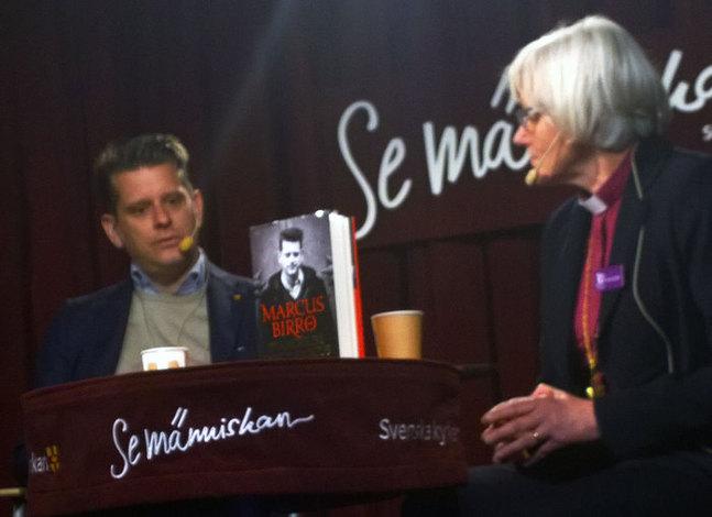 """På bokmässan i Göteborg konfronterade Antje Jackelén sin inbjudna gäst Marcus Birro med hans påstående om att """"Sverige fått en ärkebiskop som inte är kristen""""."""