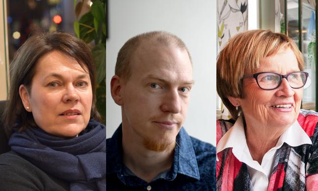 """Martina Harms-Aalto, Patrik Hagman och Ulla-Maj Wideroos kandiderar för valmansföreningen """"En kyrka för alla""""."""