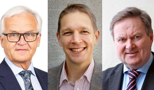 """Martti Vähäkangas, Marcus Henricson och Olav S Melin ställer upp för listan """"För Kristi kyrka""""."""